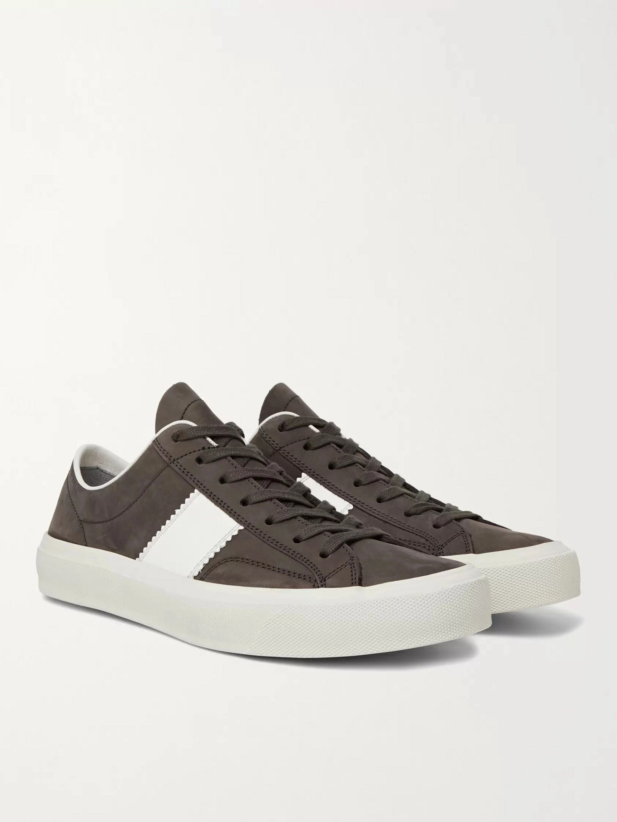TOM FORD Cambridge Leather-Trimmed Nubuck Sneakers
