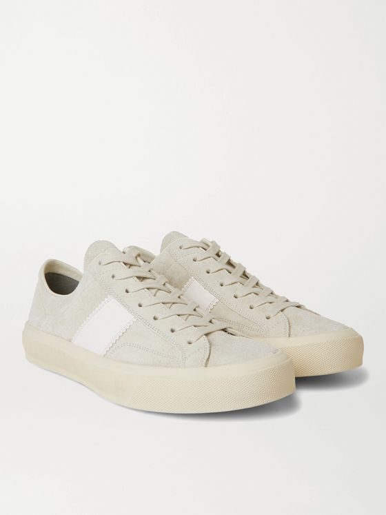 TOM FORD Cambridge Leather-Trimmed Suede Sneakers