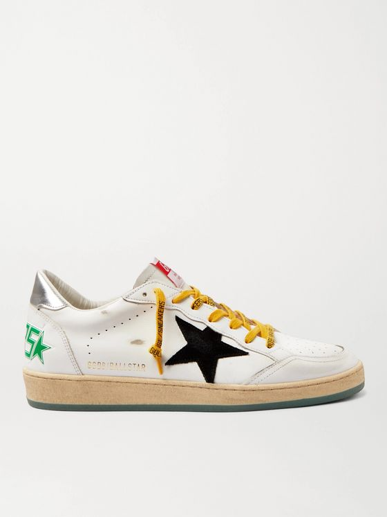 GOLDEN GOOSE Ballstar Distressed Leather and Suede Sneakers