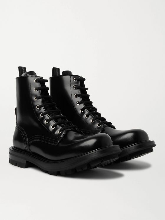 ALEXANDER MCQUEEN Spazzolato Leather Boots