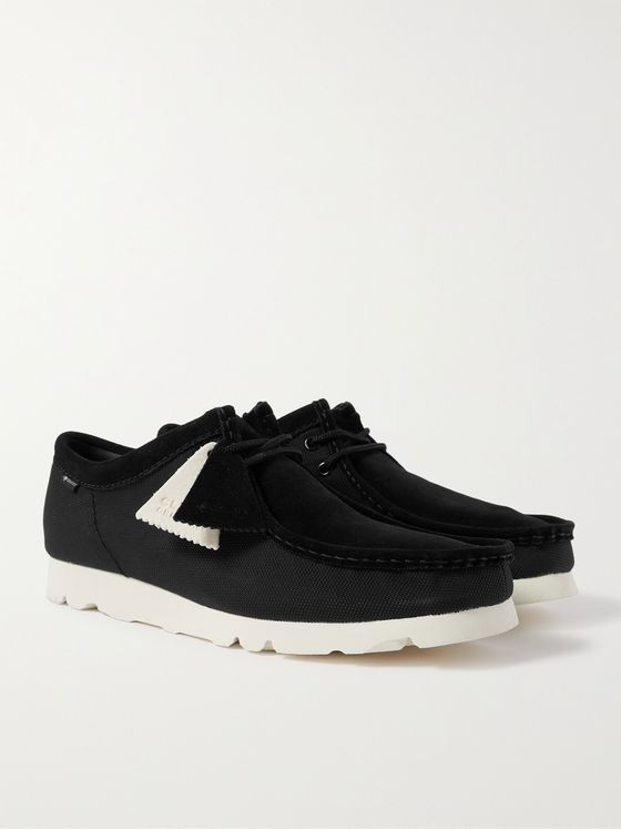 CLARKS ORIGINALS Wallabee Low GORE-TEX Suede and Canvas Desert Boots