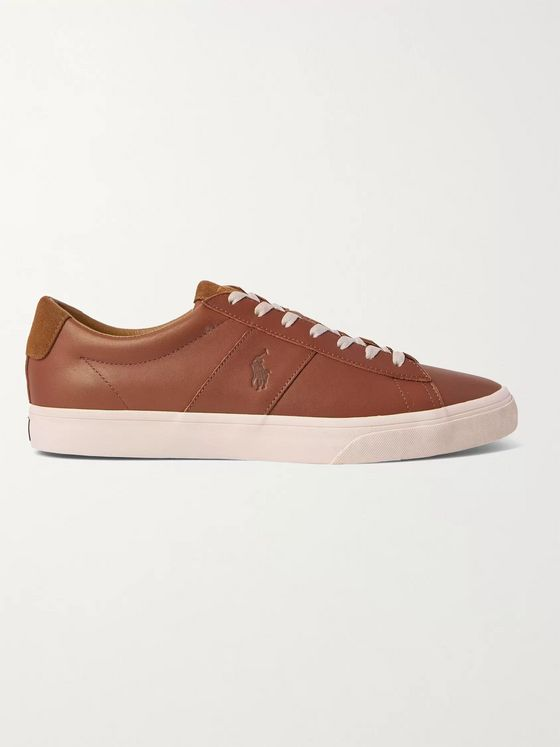 POLO RALPH LAUREN Sayer Logo-Debossed Suede-Trimmed Leather Sneakers