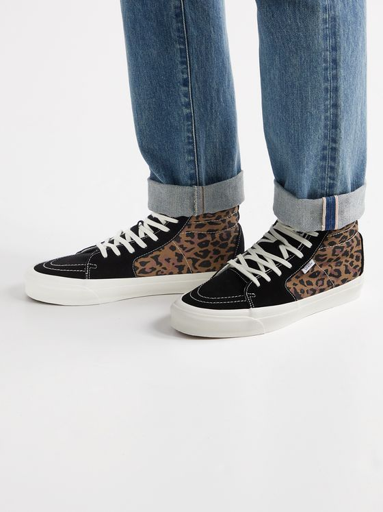 Vans UA OG Style 38 NS LX Leopard-Print Canvas and Suede High-Top Sneakers