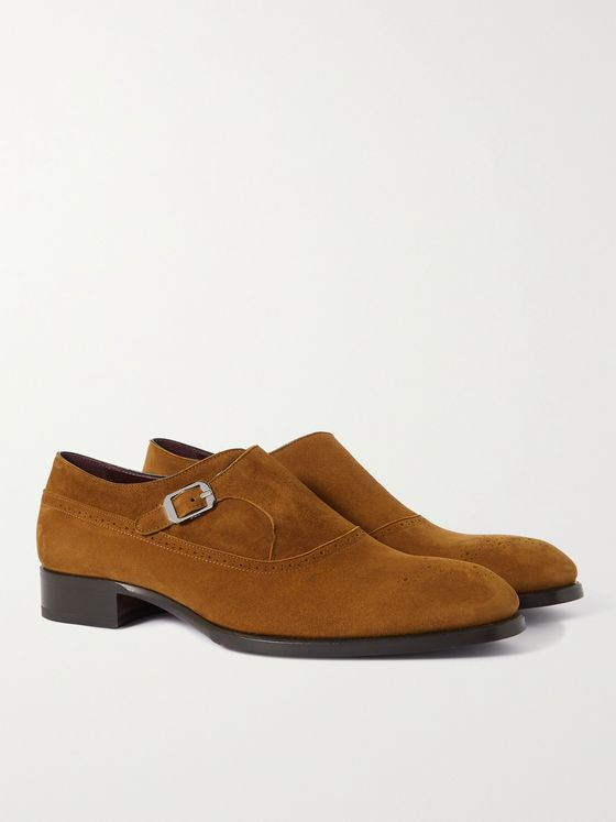 BRIONI Suede Brogue Monk-Strap Shoes