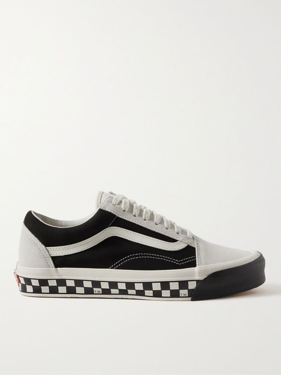 Vans UA OG Old Skool LX Bumper Cars Leather-Trimmed Canvas and Suede Sneakers
