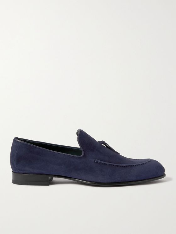 BRIONI Lukas Leather-Trimmed Suede Tasselled Loafers