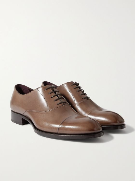 BRIONI Cap-Toe Leather Oxford Shoes