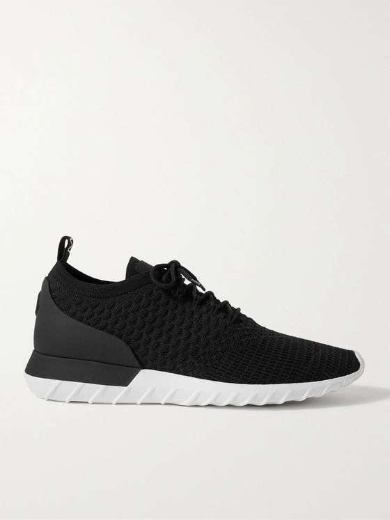 MONCLER Emilien Leather-Trimmed Stretch-Knit Sneakers