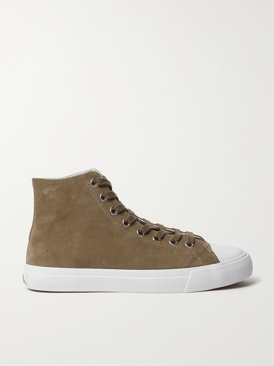 PAUL SMITH Carver Striped Grosgrain-Trimmed Suede High-Top Sneakers