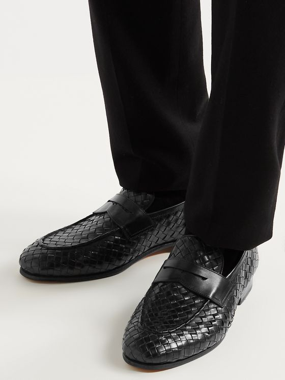 OFFICINE CREATIVE Barona Woven Leather Penny Loafers
