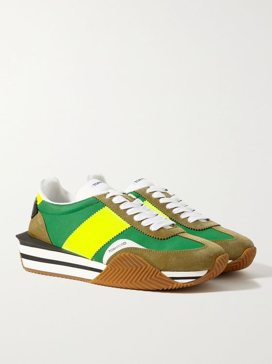 TOM FORD James Rubber-Trimmed Leather, Suede and Nylon Sneakers