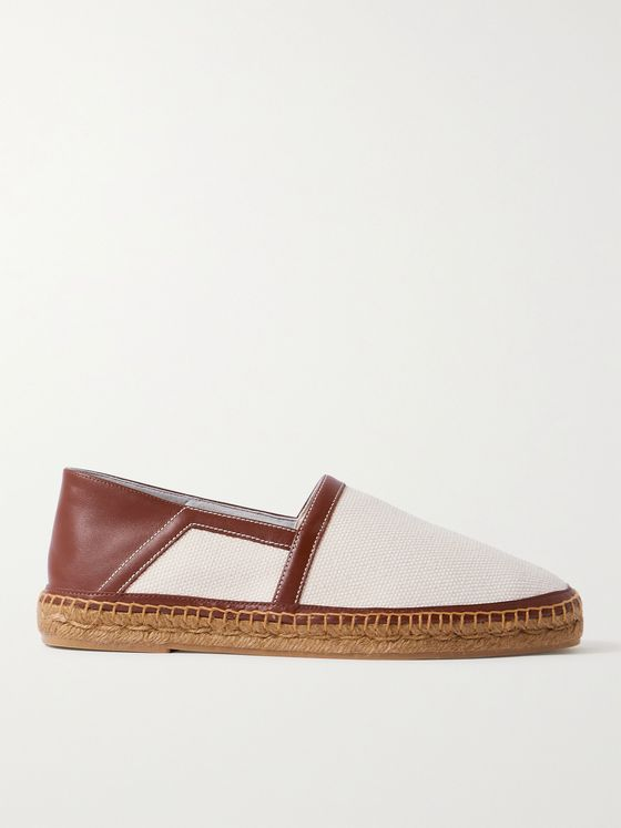 TOM FORD Barnes Collapsible-Heel Leather-Trimmed Canvas Espadrilles