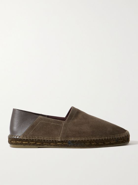 TOM FORD Barnes Collapsible-Heel Leather-Trimmed Suede Espadrilles