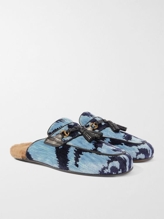 TOM FORD Stephan Shearling-Lined Printed Velvet Tasselled Backless Loafers