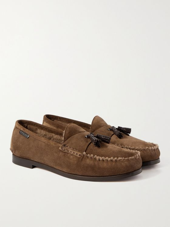TOM FORD Berwick Shearling-Lined Tasselled Suede Loafers