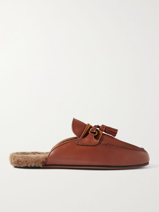 TOM FORD Stephan Shearling-Lined Leather Tasselled Backless Loafers