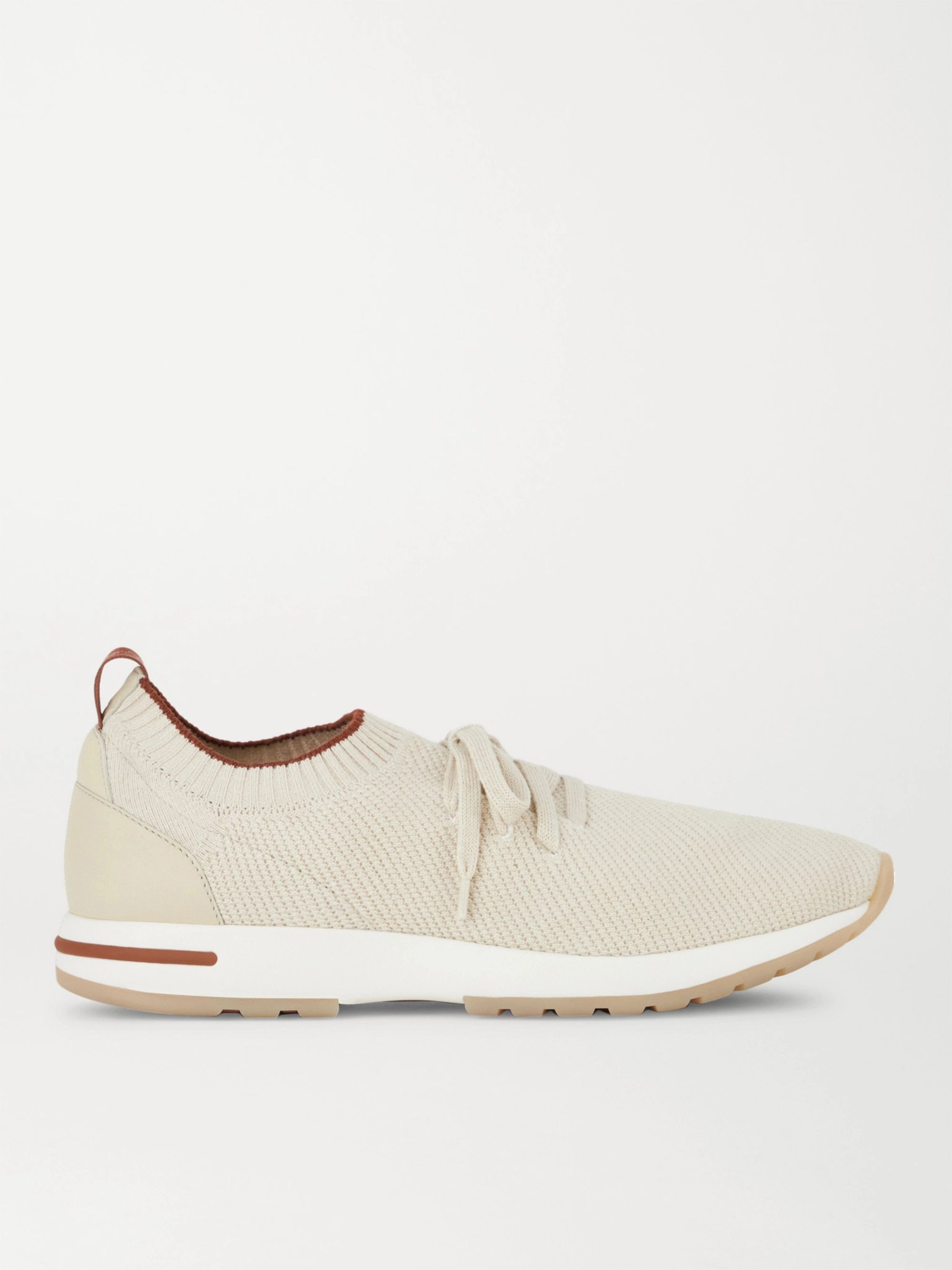LORO PIANA 360 Flexy Walk Leather-Trimmed Knitted Silk and Linen-Blend Sneakers