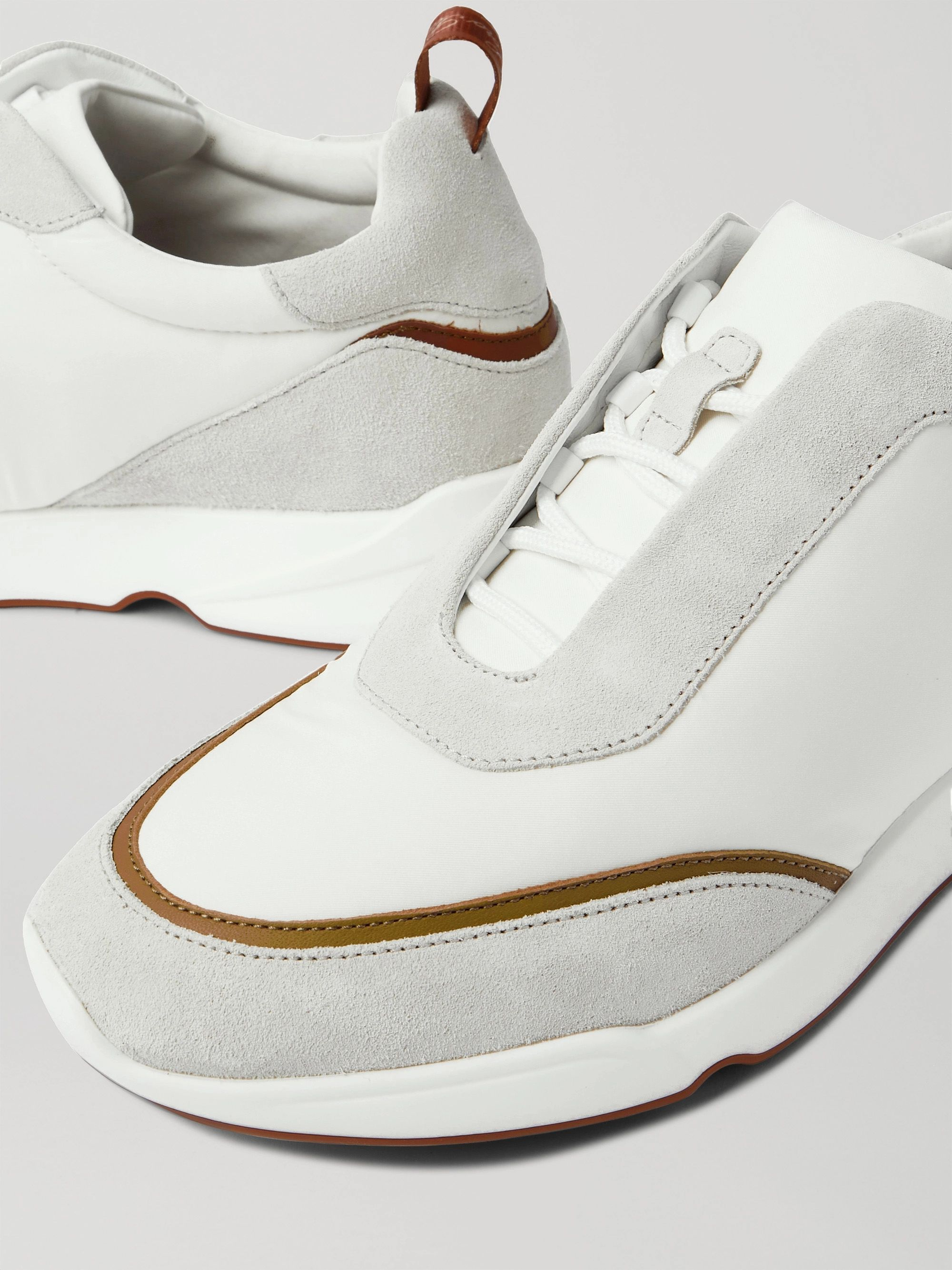 LORO PIANA Modular Walk Leather-Trimmed Canvas and Suede Sneakers