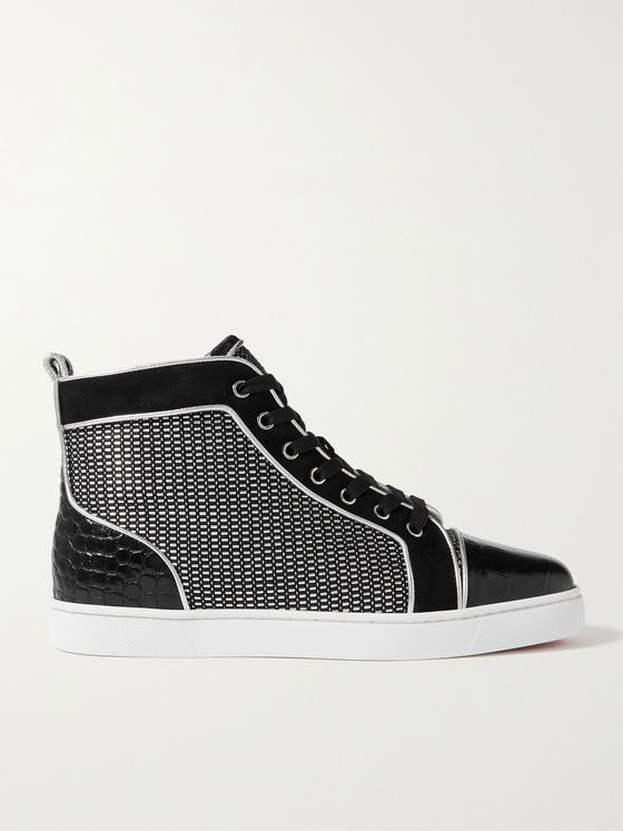 CHRISTIAN LOUBOUTIN Louis Orlato Suede-Trimmed Croc-Effect and Woven Leather Sneakers