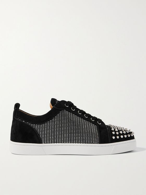 CHRISTIAN LOUBOUTIN Louis Junior Spikes Orlato Suede and Canvas Sneakers