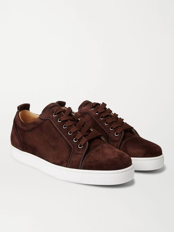 CHRISTIAN LOUBOUTIN Louis Junior Orlato Grosgrain-Trimmed Suede Sneakers