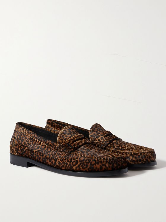 SAINT LAURENT Logo-Appliquéd Leopard-Print Calf Hair Penny Loafers