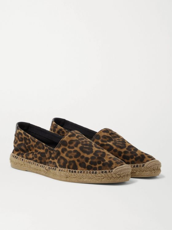 SAINT LAURENT Leather-Trimmed Leopard-Print Suede Espadrilles