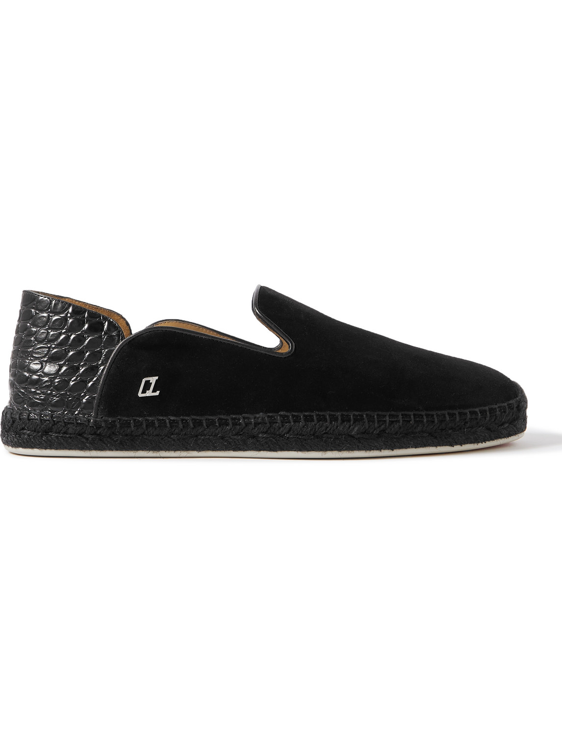 Christian Louboutin Loafers COLLAPSIBLE-HEEL LEATHER-TRIMMED SUEDE ESPADRILLES