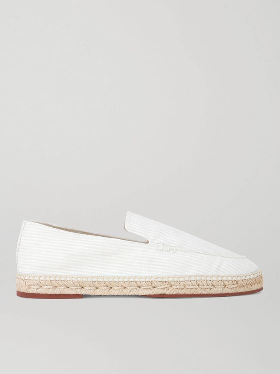 LORO PIANA Seaside Walk Striped Linen Espadrilles