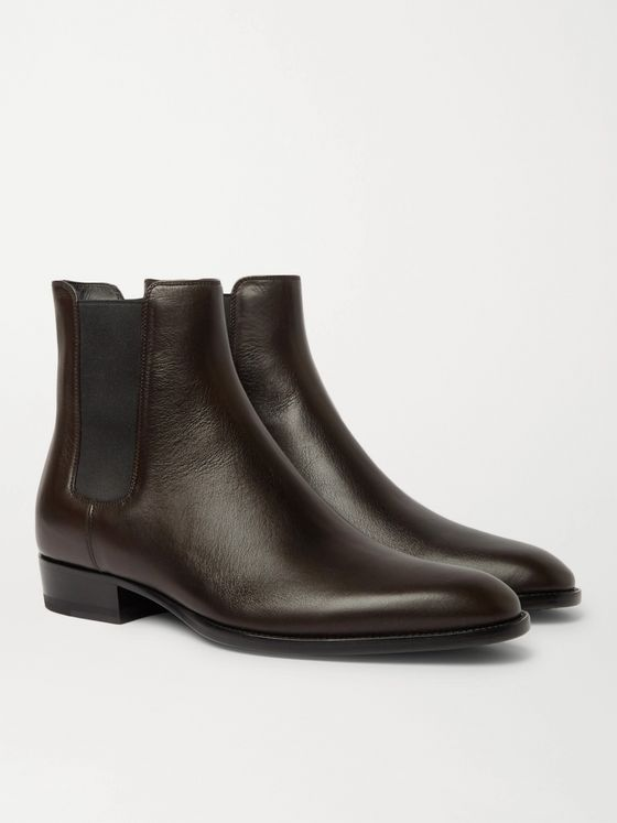SAINT LAURENT Wyatt Leather Chelsea Boots