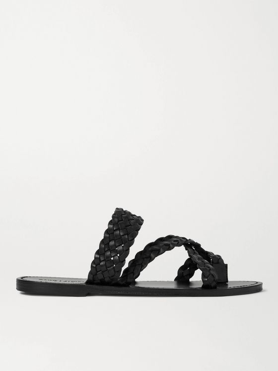 SAINT LAURENT Neil Braided Leather Sandals