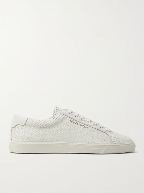 SAINT LAURENT Andy Snake-Effect Leather Sneakers