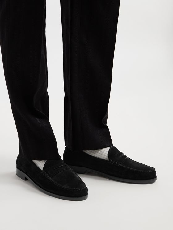 SAINT LAURENT Suede Penny Loafers