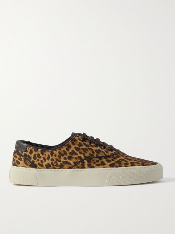 SAINT LAURENT Venice Leather-Trimmed Leopard-Print Canvas Sneakers