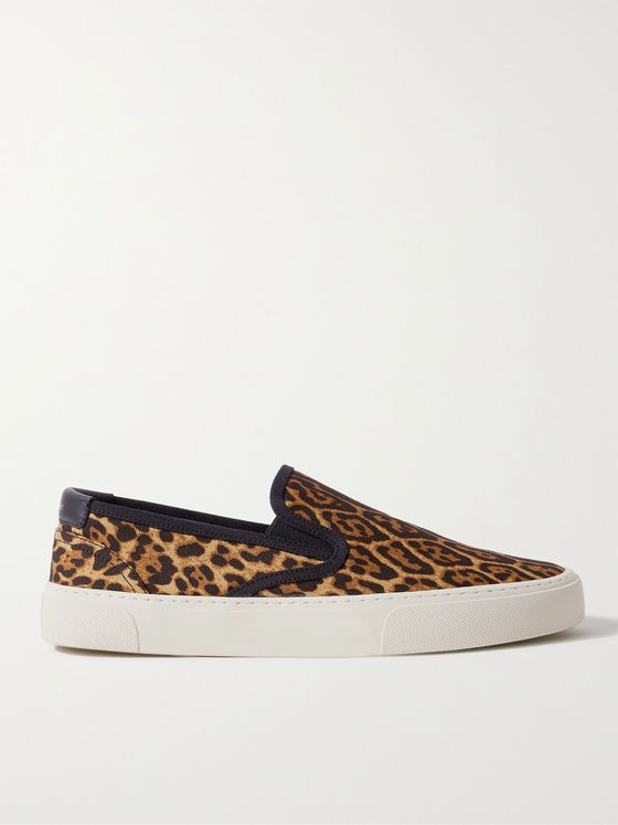 SAINT LAURENT Venice Leather-Trimmed Leopard-Print Canvas Slip-On Sneakers