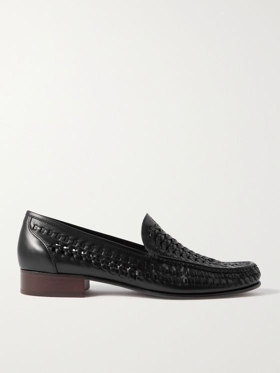 SAINT LAURENT Swann Woven Leather Loafers