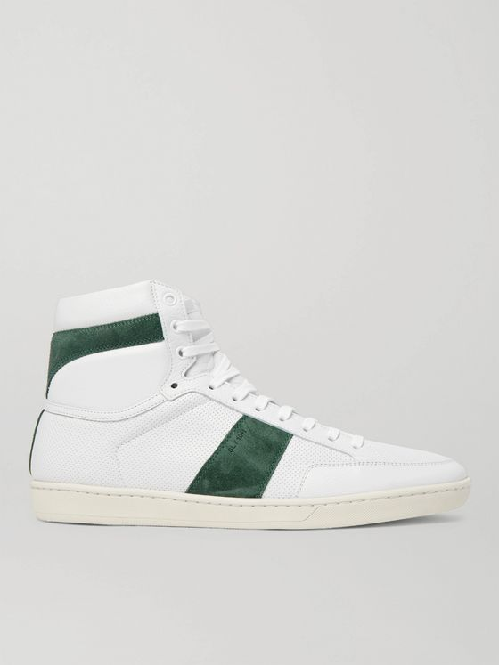 SAINT LAURENT SL/10 Suede-Trimmed Perforated Leather High-Top Sneakers