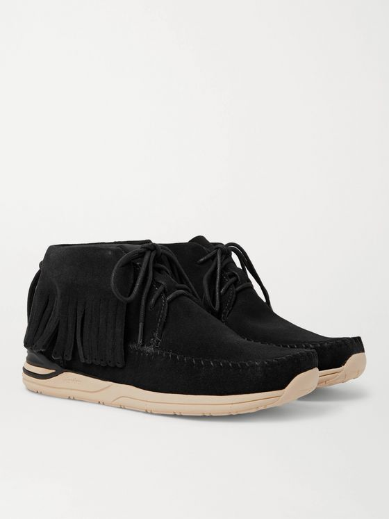 visvim Shaman-Folk Fringed Suede High-Top Sneakers