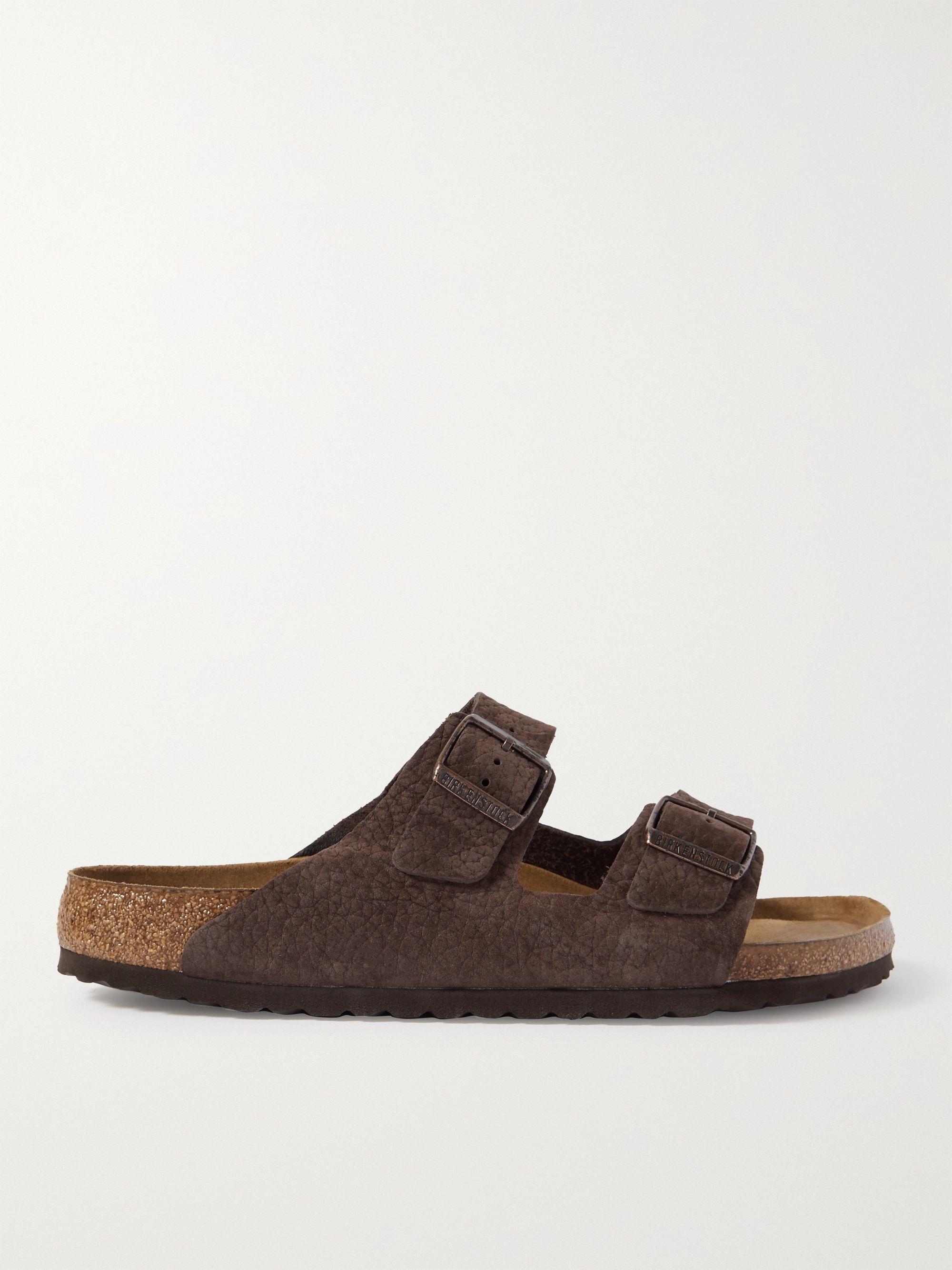 Birkenstock Arizona Textured-Suede Sandals,Brown