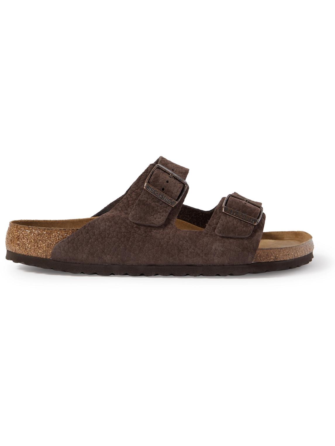 Birkenstock Arizona Textured-suede Sandals In Neutrals