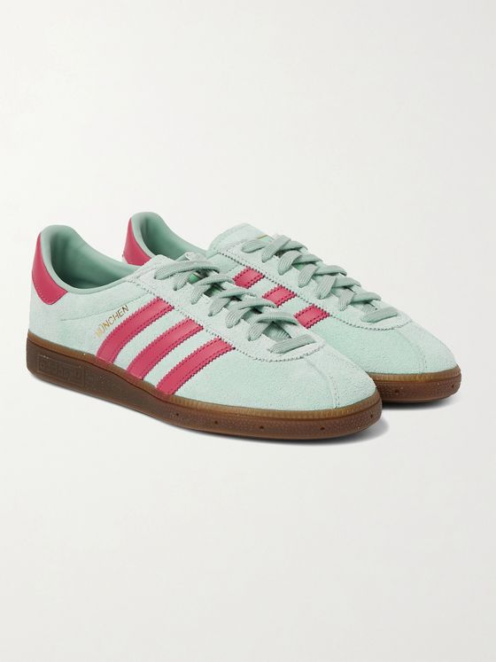 ADIDAS ORIGINALS MÜNCHEN Leather-Trimmed Brushed-Suede Sneakers
