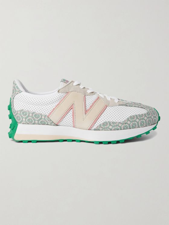NEW BALANCE + Casablanca 327 Suede-Trimmed Logo-Jacquard and Leather Sneakers