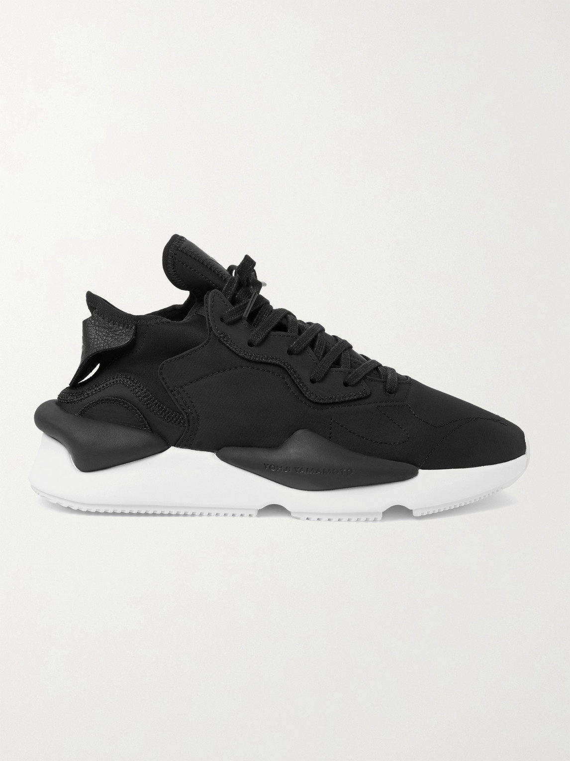 Y-3 Leathers KAIWA LEATHER-TRIMMED NYLON-RIPSTOP AND NEOPRENE SNEAKERS