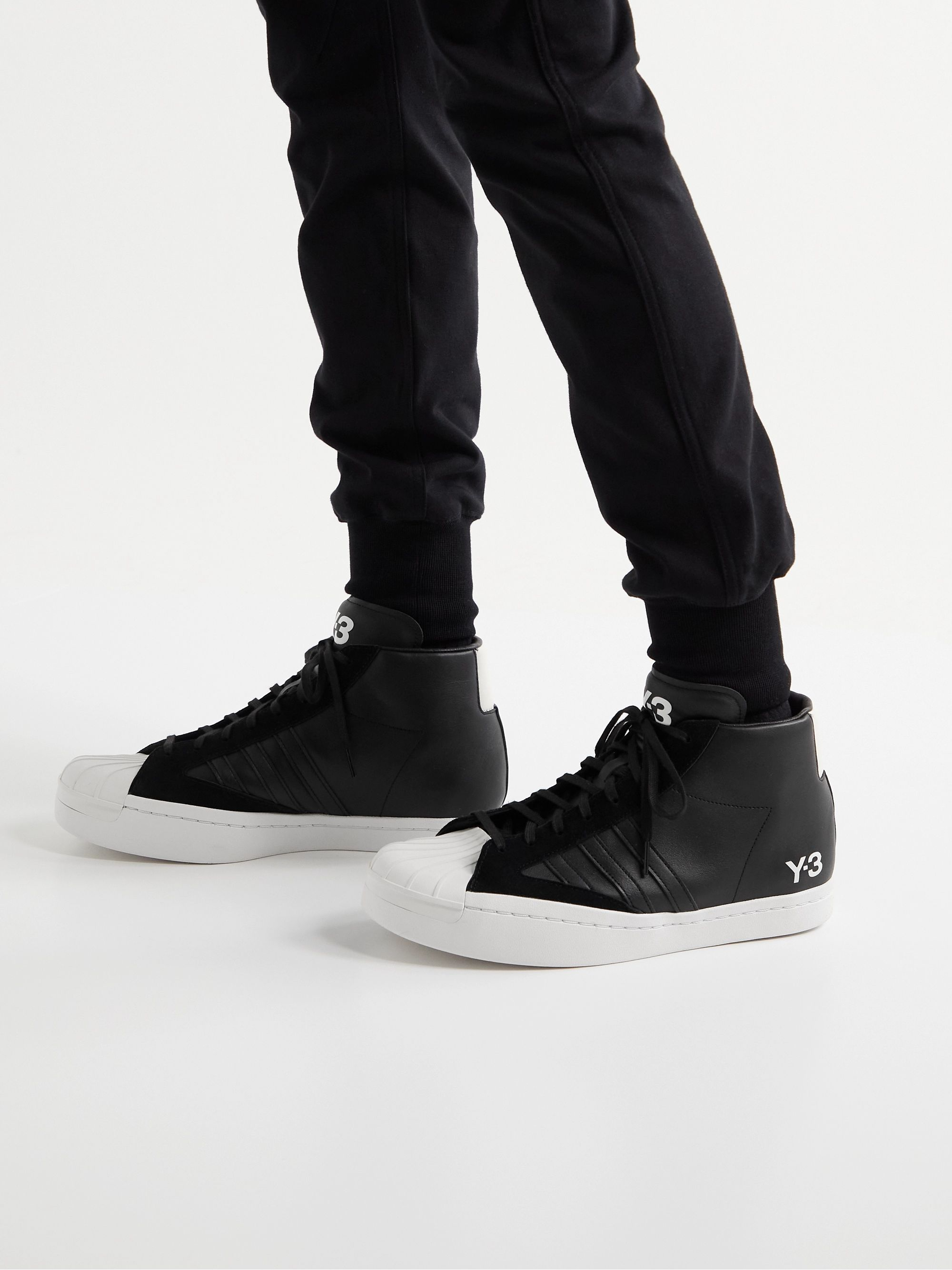 Y-3 Yohji Pro Suede-Trimmed Leather High-Top Sneakers