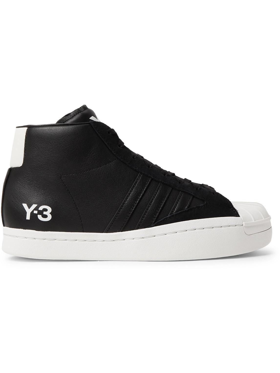 y-3 - yohji pro suede-trimmed leather high-top sneakers - men - black - uk 10