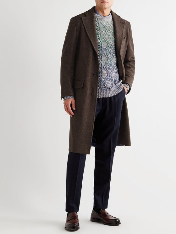 Rubinacci Herringbone Virgin Wool and Cashmere-Blend Overcoat