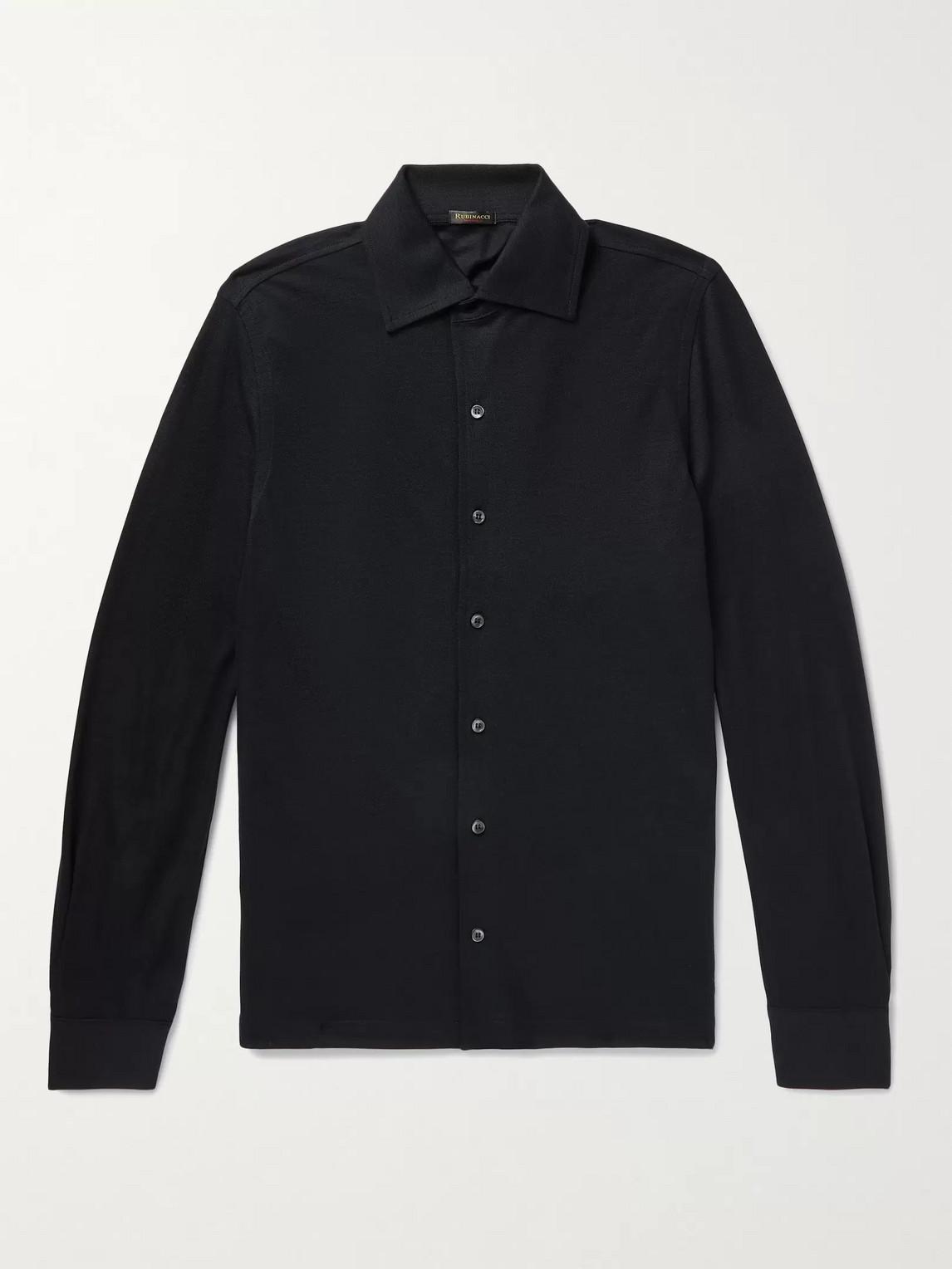 Rubinacci Slim-fit Wool Shirt In Blue