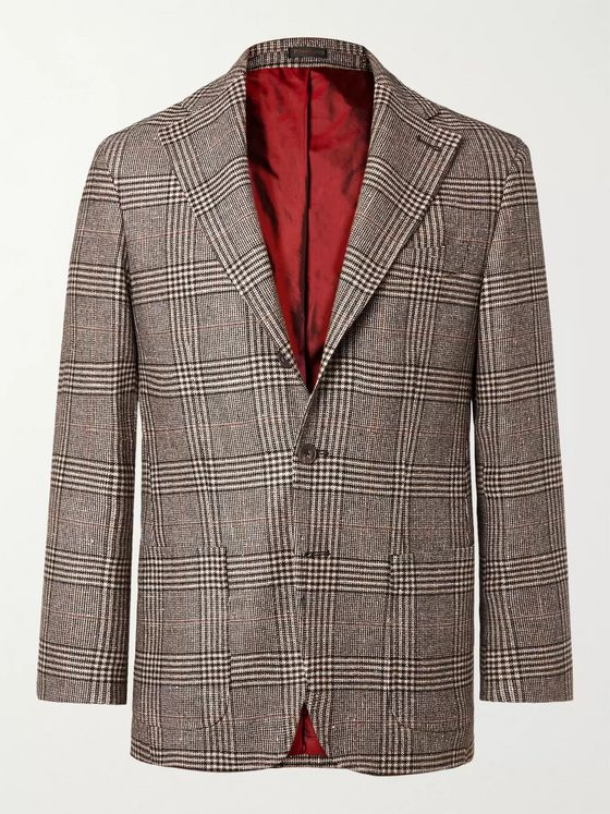 Rubinacci Prince of Wales Checked Virgin Wool-Blend Blazer