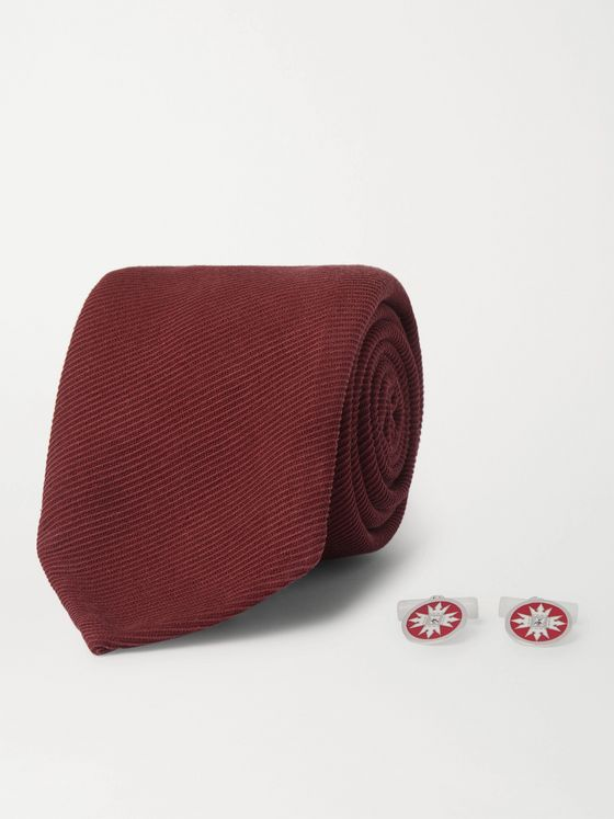 RUBINACCI Silk and Wool-Blend Twill Tie and Sterling Silver, Sapphire and Enamel Cufflinks Set