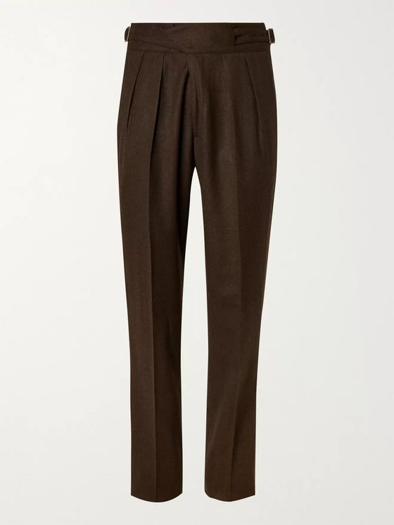 Rubinacci Manny Pleated Virgin Wool-Flannel Trousers